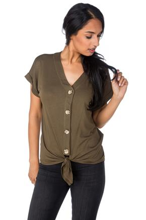 Short Sleeve Tie-Front Top with Buttons