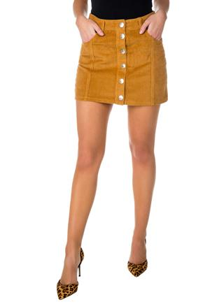 Almost Famous Corduroy Skirt with Button Front