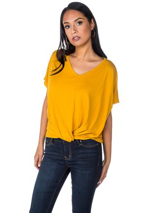 Short Sleeve Top with Twisted Hem